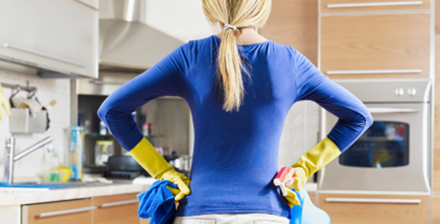Cleaner working for Pembrokeshire cleaners